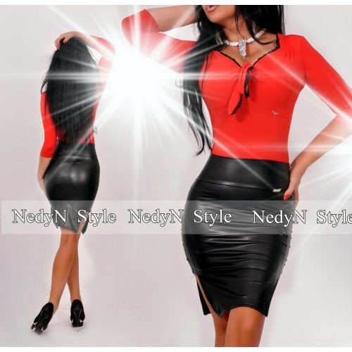 NedyN piros fekete mellénél megkötős csipkés női felső
