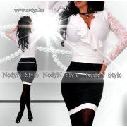 NedyN fehér átlapolt női ruha csipke dísszel