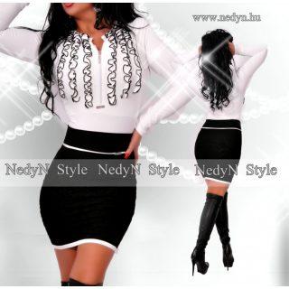 NedyN fehér poliamid zsabós fodros női felső - fehér fehér fekete - szoknya  nélkül dd987d8387