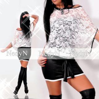 NedyN   fehér csipke  női ruha csőtoppos egyberuha