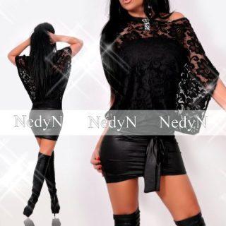 NedyN fekete csipke díszes alkalmi kalapos női ruha