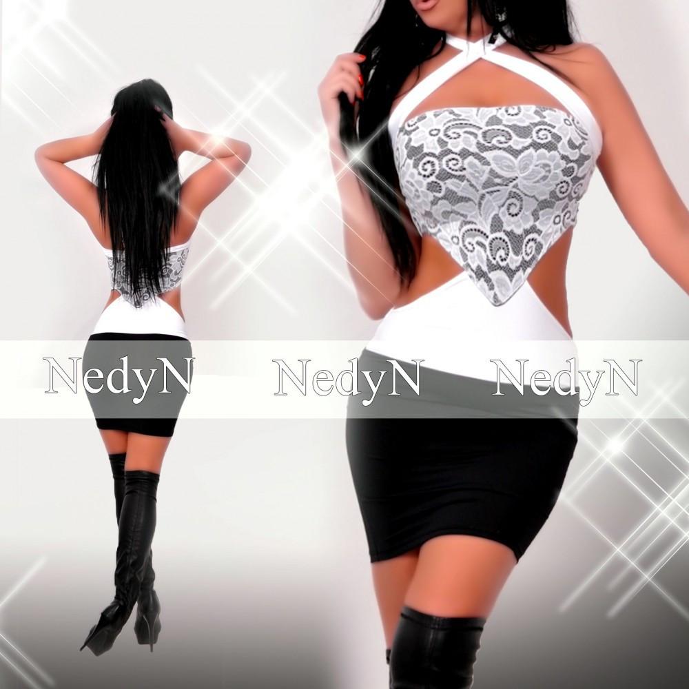 NedyN fekete fehér csipke díszes oldalán nyitott női ruha - NedyN ... b851315c24