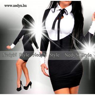 NedyN fekete fehér poliamid nyakánál megkötős pingvin női ruha