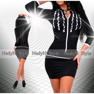 NedyN fodros fekete fehér cipzáros poliamid női ruha fekete 1c9beaaa07