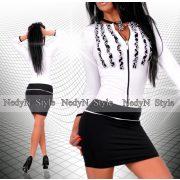 NedyN fekete fehér 3 fodros zsabós cipzáros női ruha