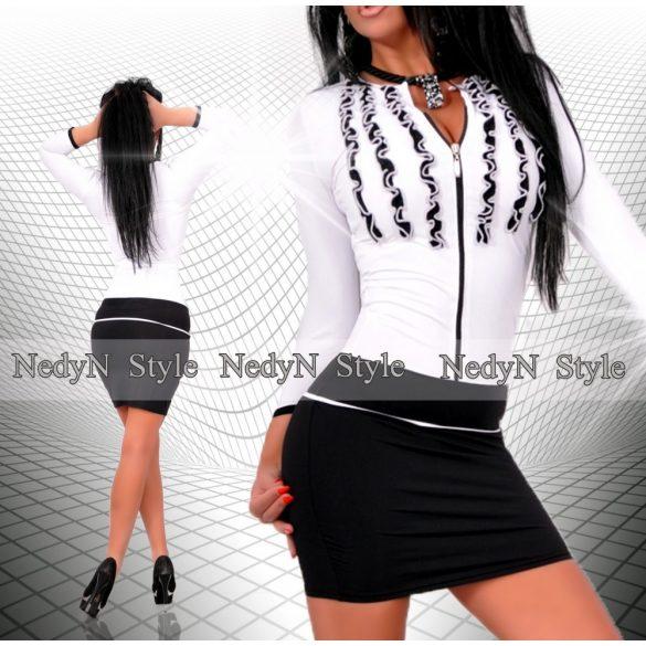 NedyN fodros fekete fehér cipzáros női ruha - NedyN női ruha webshop ... 59c2e8ea93