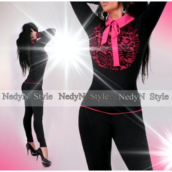 NedyN nyakánál megkötős fekete-magenta női overál csipke dísszel poliamid - NedyN  női ruha webshop 2d64e32310