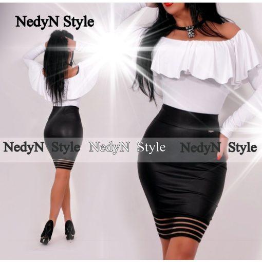 NedyN Fehér -fodros vállra lehúzható női felső - szoknya nélkül