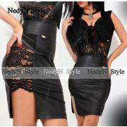 NedyN bőrhatású oldalt fekete csipkés női szoknya