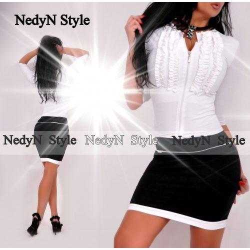 NedyN fekete fehér 2 fodros zsabós cipzáros női ruha