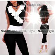 NedyN fekete fehér poliamid  átlapolt fodros női felső ujjatlan  - legging nélkül