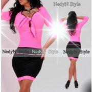 NedyN Neon pink mellénél megkötős női ruha