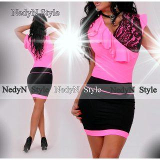 NedyN Neon pink fodros átlapolt csipkés női ruha