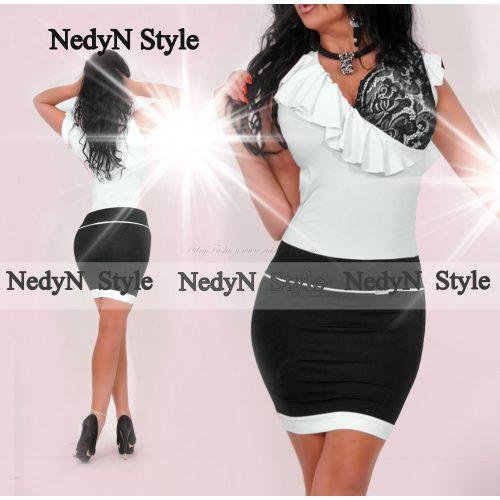 NedyN fekete fehér átlapolt fodros csipke díszes női ruha