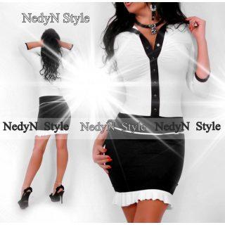 NedyN fekete fehér fehér Kata női ruha
