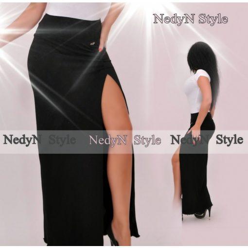 NedyN fekete oldalán hasított női pamut  szoknya