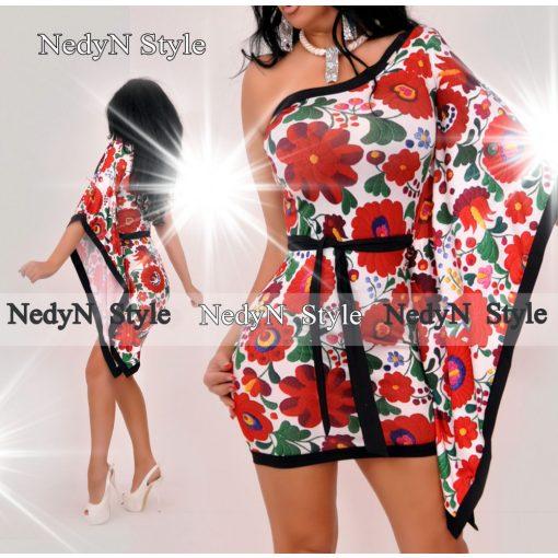 NedyN matyó mintás félvállas női ruha