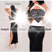 NedyN fekete fehér átlapoltoldalán nyitott maxi női ruha