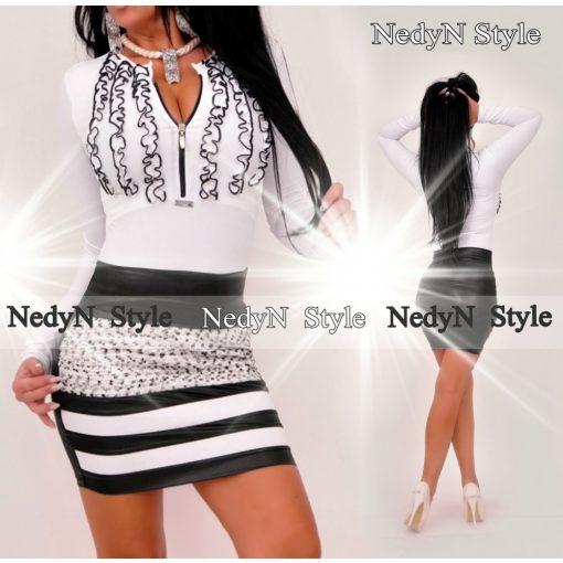 NedyN 3 fodros fehér színű zsabós női felső fekete fodros -szoknya nélkül