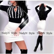 NedyN 3 fodros fekete színű zsabós női felső fehér fodros - szoknya nélkül