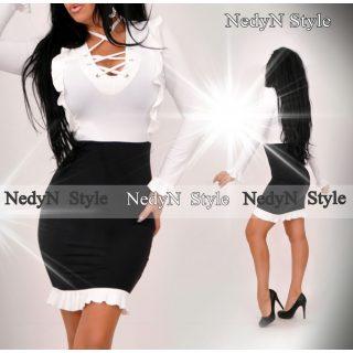 NedyN fehér fekete fűzős ruha