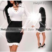 NedyN fehér fekete fűzős női ruha poliamid